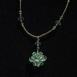 NWT~ CRYSTAL AND SEED BEAD NECKLACE/EARRINGS SET